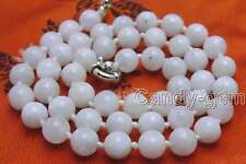 """SALE Genuine 8mm White Round Natural High quality MoonStone 18"""" necklace-5822"""