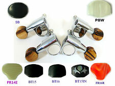 Ukulele Chrome Tuners Machine Heads  Plastic Ebony Inlay Buttons 4p 327C