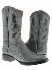 mens gray western square toe ostrich pattern cowboy boots alligator ranch new