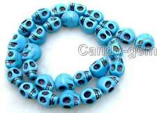 """SALE Big 10*12mm Blue Skull Heads TURQUOISE beads strand 15""""-los487"""