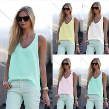 Summer Ladies Sleeveless Chiffon Vest Tops V-neck Casual Shirt Blouse Plus Size