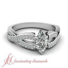 .70 Ct Marquise Cut Diamond Engagement Ring Micro Pave Set SI1-D Color