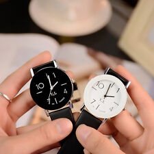 2016 New Womens Mens Leather Band Quartz Wrist Watch Analog Stainless Steel