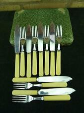 Vintage 6 place F&W fisheater set silver plated Faux Bone resin handles cased #1