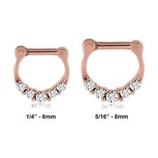 "Rose Gold 316L Surgical Steel Septum Clicker Nose Ring Hoop 1/4"" 5/16"" 14G 16G"