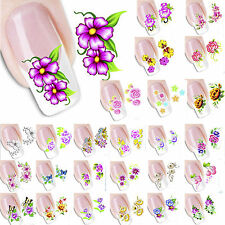 Nail Art Decals Flower DIY Transfer Stickers 3D Design Manicure Tips Decoration