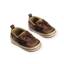 Koala Baby Boys Brown/Beige Lace Up Soft Sole Boat Shoes