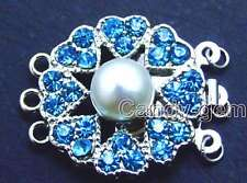 SALE Big 8-9mm Natural White pearl 25mm Round 3 Strands Clasp Blue Crystal-gp183