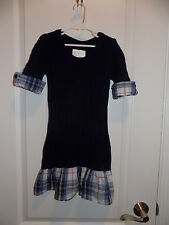 Justice Girls Navy Blue Cable Knit Sweater Dress Plaid Skirt Sz 8 EUC Fall