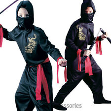 CK887 Black Ninja Warrior Martial Arts Dragon Boys Child Fancy Dress Up Costume