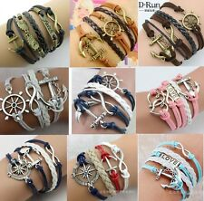 Fashion Infinity Love Anchor Leather Charm Bracelet plated Silver DIY Jewelry