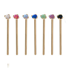 18KT Solid Yellow Gold Nose Ring Stud Straight Screw L Bend 2mm Opal 22G