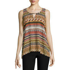 A. Byer Juniors Tribal Printed Chiffon Overlay Tank Top Size S New Msrp $46.00