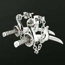 Cool 316L Stainless Steel Japanese katana Mens Biker Punk Stud Earring 2F008A