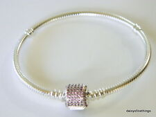 AUTHENTIC PANDORA SIGNATURE CLASP BRACELET #590723CZS FANCY PINK 21CM  BOX INCL
