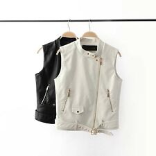 New Womens Soft Faux Leather Zip Up Motorcycle Biker Vest Waistcoat