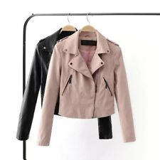 New Womens Black/Pink Slim Soft Faux Leather Motorcycle Biker Bomber Jacket Coat