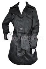 Ladies Tie Belt Piped Mac Trench Coat Jacket Black Womens Size  Womens