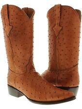 mens cognac brown rust full ostrich quill exotic collection western cowboy boots