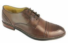 Ikon Grayson Men's Brown Lace Up Leather Oxford Toe Brogue Style Shoes New