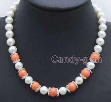 "SALE 9-10mm white natural round pearl and 9-10mm pink coral 17"" Necklace-nec6053"