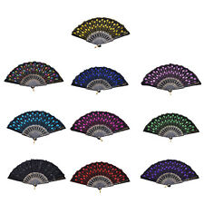 New Embroidered Folding Sequins Hand Lace Flower Fan Party Wedding Decor USHF