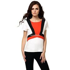 Stylish Ladies Women Casual Short Sleeve Patchwork Top Blouse SH