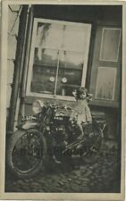 Cute barefoot girl posing on Ariel motorcycle antique rppc photo