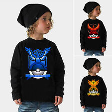 Pokemon Kids Clothes Cartoon T-Shirt Tee Long Sleeve Shirt Children Outfit Black