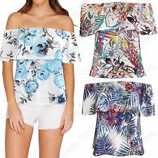 NEW LADIES FLORAL PRINT FRILL BARDOT TOP WOMEN BODYCON OFF SHOULDER SUMMER TOPS