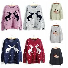 Vogue Women Fall Winter Warm Deer Printed Knit Pullover Cardigan Sweater Tops