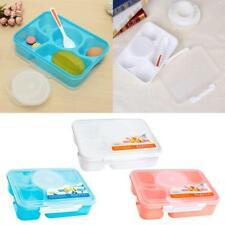 5 Separated Student Bento Lunch Box Food Container Storage w/Spoon Convenient