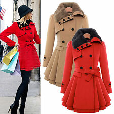 Womens Warm Slim Belted Coat Jacket Thick Parka Overcoat Long Winter Outerwear