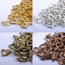 20Pcs Golden/Silver Plated Cute Heart Shape Lobster Clasps Hooks Jewelry Finding
