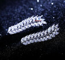 White Gold Filled Made with Swarovski Crystal Leaf Ear Cuff Earring IE124
