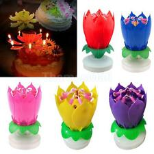 Musical Lotus Flower Happy Birthday Candles Music Candle Cake Party Decoration