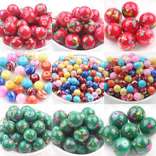 5/50Pcs Glass Round Floral Printed Loose Spacer Bead 6/14mm Jewelry Accessory