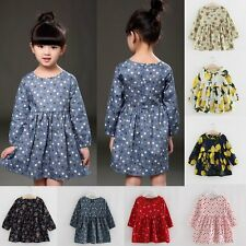 Toddler Kids Baby Girls Floral Dots Beauty Princess Party Casual Tutu Dress 1-6T