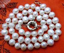 "SALE 7-8MM White Natural Freshwater PEARL 17"" NECKLACE-nec5613 Free shipping"
