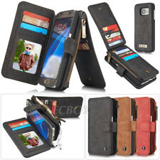 Luxury Genuine Leather Zipper Wallet Card Pocket Phone Case For Samsung Galaxy