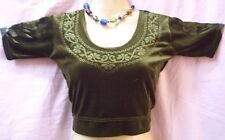"Dark Henna Velvet Blouse Belly Dance Dancing Top Outfit Short Sleeve 30"" #ACX4Z"
