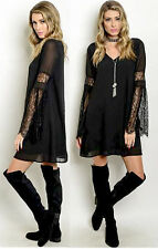 Black Evening Cocktail V neck Lined Lace Bell Long Sleeves Chiffon Tunic Dress