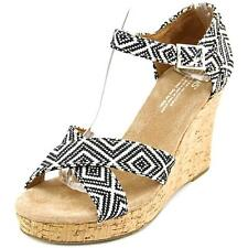 Toms Strappy Wedge Women  Open Toe Canvas  Wedge Sandal