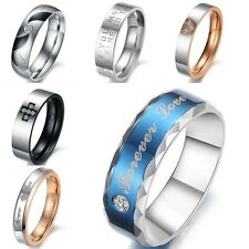 Stainless Steel Couple Rings Love Wedding Bands Ring Lovers Gift Jewelry