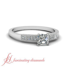 Milgrain Style Engagement Ring 0.65 Ct Princess Cut SI1 Diamond GIA Certified