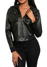 Black Hooded Bomber Vegan 'Pleather' Faux Leather Zip Front Jacket S M L 1XL