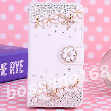 Crystal Magnetic Diamonds flowers PU leather wallet flip slot phone case cover k