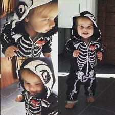 Infant Baby Boy Girl Romper Skull Hooded Jumpsuit Bodysuit Clothes Outfits 0-24M