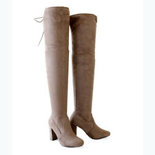 Stretch Suede 3.25 in. Covered Thick Heel  Over The Knee Thigh-High Boots Taupe