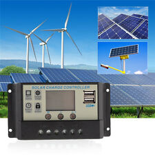 USB Solar Panel Battery Regulator Charge Controller 10A/20A/30A 12V/24V PWM LCD